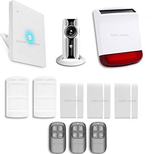 AWVPLUS – Kit de alarma IP WiFi inalámbrico + cámara WiFi HD + sirena flash solar CHUANGO, compatible con Amazon Alexa y Google Home Assistant