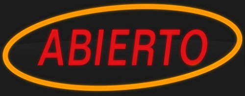 """ComeAlong Industries Red and Yellow Heavy Duty LED""""ABIERTO"""" Sign, 40-Inch Wide x 16-Inch High"""