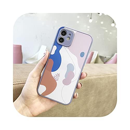 Retro Abstracto Geometría Hoja Teléfono Caso Para iPhone 12 11 Pro Max MINI X XR XS SE 2020 7 8 Plus Cámara Protectora Trasera Cubierta T1-Para iPhone 7 Plus