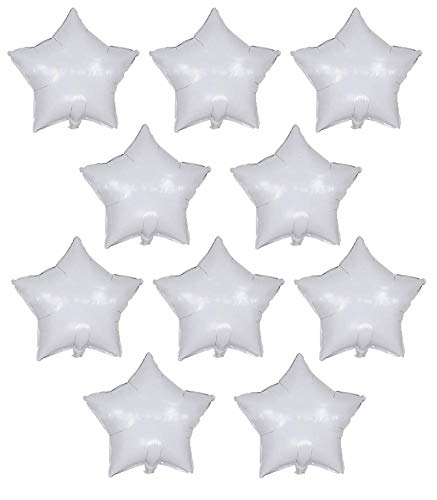 18 Inch White Star Balloons Foil Balloons Mylar Balloons for Party Decorations Balloons,Pack of 10