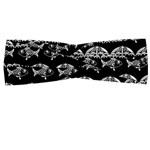 ABAKUHAUS Vis Hoofdband, Marine Dieren en Paraplu, Elastische en Zachte Bandana voor Dames, voor Sport en Dagelijks Gebruik, Charcoal Grey White
