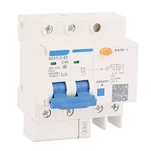 YELLAYBY Protección de circuitos Circuit Breaker, DZ47LE-63 2P + 2 del disyuntor de Circuito 40A de Circuito Residual Sobrecorriente Protección de Fuga