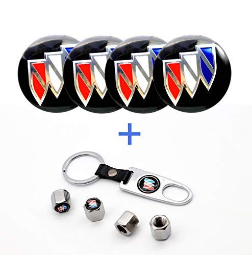 Car concentration camp 4PCS 56mm Wheel Center Hub Caps Decals Emblem Stickers Fit for Buick with Bonus Tire Valve Stem Caps Cover Set