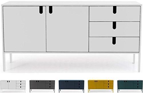 Tenzo 8555-001 UNO Designer Sideboard 2 Türen, 3 Schubladen, Weiss lackiert, MDF + Spanplatten, matt Soft-Close Funktion, 86 x 171 x 46 cm (HxBxT)