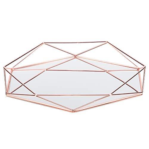 HERCHR Vassoio Decorativo in Metallo, Vassoio per Trucco cosmetico Vassoio per Specchio ottomano Vassoio per Profumo Vassoio per Gioielli Vassoi per vanità in Vetro per cassettiere(Oro Rosa)