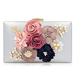 Floral Silver Clutch With Pearls and Rhinestones Purse