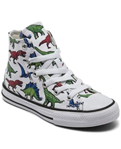 Converse Kids' Chuck Taylor All Star High Top Sneaker,White/Dinosaurs, 1