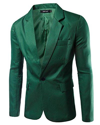 Uomo Slim Fit Uomo Casual One Button Elegante Vestito di Affari Cappotto Giacca Blazers Top Outwear Erba Verde L