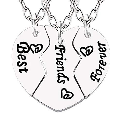 Drie kettingen - hart - bff - gebroken - gedeeld - x 3 - bij 3 - origineel cadeau-idee - beste vrienden - verjaardag - kerstmis - zilver - sieraden best friends forever