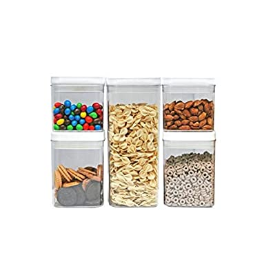 Kitchen Pro 101-Tight Food Storage Container Set - 5-Piece Set - Durable Plastic - BPA Free - Clear Plastic with White Lid
