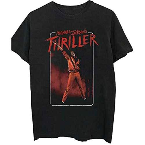 Rockoff Trade Michael Jackson Thriller White Red Suit Camiseta, Negro (Black Black), Small para Hombre