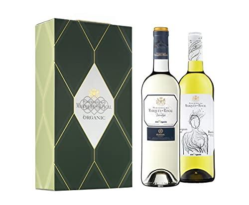 Marqués de Riscal - Vino blanco Denominación de Origen Rueda, 100% Organic - Estuche 2 botellas x 750 ml - Verdejo y Sauvignon Blanc - Total 1500 ml