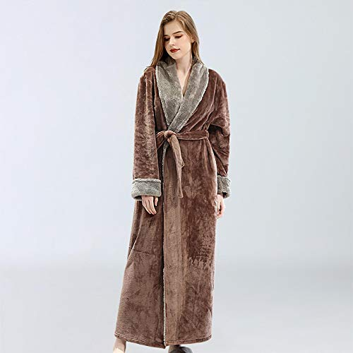 Pijamas Mujer Camisón PijamaDe MujerCamisón Ropa De Dormir Bata Otoño E Invierno Albornoz Bordado Belleza XL Café