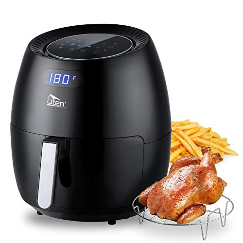 Uten Air Fryer 6.9 Quart, Large Capacity Non-Stick Oven Oilless Cooker, 8 Cooking Preset, Healthier Cooking, Instant Temp/Time Control, LED Digital Touchscreen - 6.5L/6.9QT, 1700W(Black)