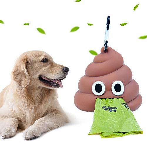 None brand Bolsas de Basura para Perros, dispensador portátil de Bolsas de Caca para Mascotas en Forma de Caca Contenedor/Portador de Bolsa de Caca al Aire Libre degradable ecológico para Gato Perro