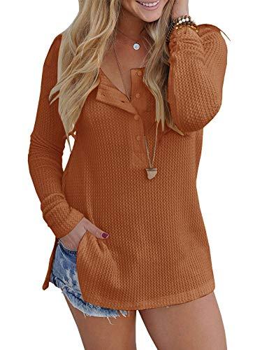 Yidarton Womens Waffle Knit Tunic Blouse Henley Tops Loose Fitting Plain Shirts (Brown,Medium)