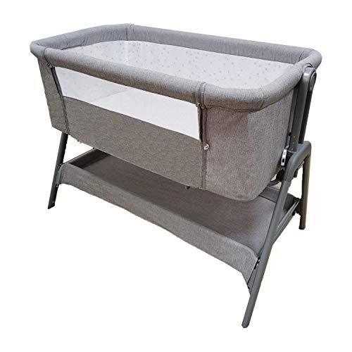 Minicuna Colecho con Cesta Star Ibaby Plus - Regulable 6 Alturas. Reclinable - Nuevo Modelo 2021 (Gris)