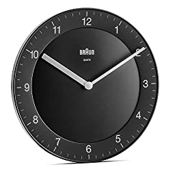 Braun Classic Analogue Wall Clock with Quiet Quartz Movement, Easy to Read, 20cm Diameter in Black, Model BC06B, us:one Size
