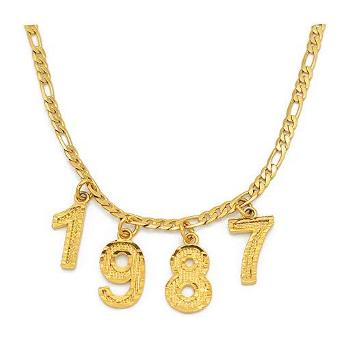 Nobrand Número inglés Gargantillas Collares Regalo de cumpleaños Personalizado Año de Nacimiento Collares Mujeres Hombres Mamá Joyería Digital Personalizada
