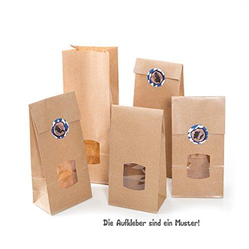 10 Stück kleine 1a braune 10,5 x 6,5 x 29 cm Block-Bodenbeutel MIT FENSTER + Folien-Einlage Kraftpapier Papiertüten für Gebäck Weihnachts-Plätzchen Pralinen Süssigkeiten Weihnachtstüten