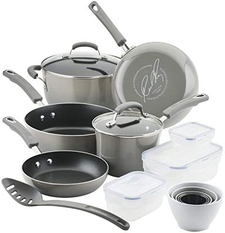 Rachael Ray Brights Nonstick Cookware Pots and Pans Set with LocknLock Containers 19 Piece Sea product image