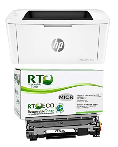 Renewable Toner Laserjet M15w Check Printer Bundle with Compatible HP CF248A 48A MICR Toner Cartridge (2 Items)
