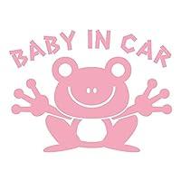 imoninn BABY in car ステッカー 【シンプル版】 No.22 カエルさん (ピンク色)