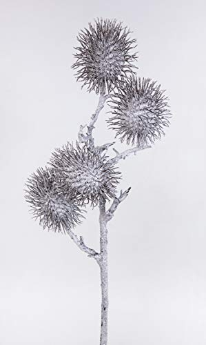 Seidenblumen Roß Distelzweig geeist 60cm DP Kunstzweig künstlicher Zweig mit Disteln EIS Schnee