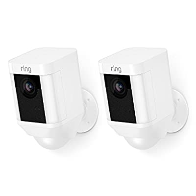 Ring Spotlight Cam Battery HD Security Camera with Built Two-Way Talk and a Siren Alarm, White, Works with Alexa - 2-Pack by Ring