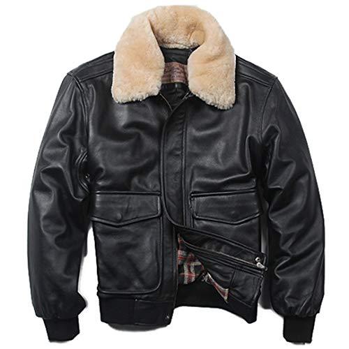 Air Force Flight Jacket Fur Collar Genuine Leather Jacket Men Black Brown Sheepskin Coat Winter Bomber Jacket Black L