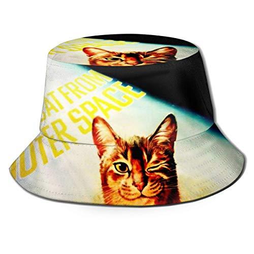 ZharkLI - Gorro para pescador, diseño de gato con texto en inglés 'I Don't Think I've Ever Seen Cat Sun Fisherman Cap para exteriores, color negro