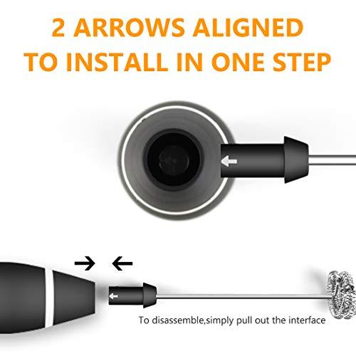 ミルク泡立て器、ハンドヘルド小型電動泡だて器ミキサー牛乳卵コーヒーミルクミニコーヒー攪拌機USB充電式3段階スピード調節2つの攪拌ヘッド付き