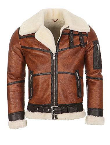Hollert Herren Bomberjacke B16 Rocky Sylvester Style Winterjacke 100% Merino Felljacke Lederjacke Fliegerjacke Größe L, Farbe Model 6 - Kastanie/Creme