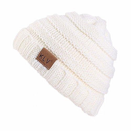 YWLINK Winter Warm StrickmüTze MäNner Frauen Baggy Crochet Winter Wolle Stricken Ski Beanie SchäDel Slouchy Caps Hut(Einheitsgröße,Weiß)