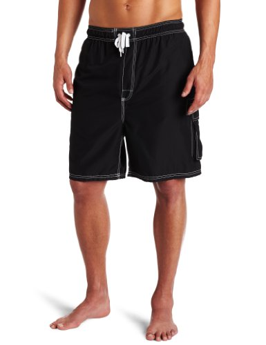 Kanu Surf Men's Barracuda Swim Trunks (Regular & Extended Sizes), Black, Medium