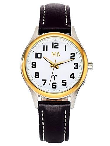 Meister Anker Damen Funkuhr – Armbanduhr mit Analog-Anzeige, Metall-Uhr mit Leder-Armband, klassisch Elegante Damen-Uhren, in Schwarz