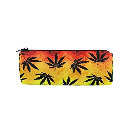 RXYY Estuche geométrico colorido con diseño de hojas de marihuana, con cremallera, estuche de lona, estuche de almacenamiento para cosméticos, bolsa de papelería para estudiantes, escuela, ofi