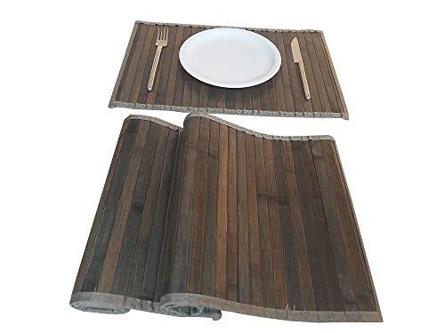 Platzdeckchen aus Holz, Bambus, rechteckig, für Frühstück, Mittagessen, waschbar, rutschfest, schmutzabweisend, hitzebeständig, 2 Stück, Braun Frame 30 x 45 cm