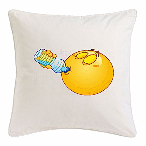 Reifen-Markt Funda de la Almohada 40x40cm Smiley Bebiendo de una Botella de Agua Smiley Smilies Android iPhone EMOTICONOS iOS sa Sonrisa Emoticon App Microfibra