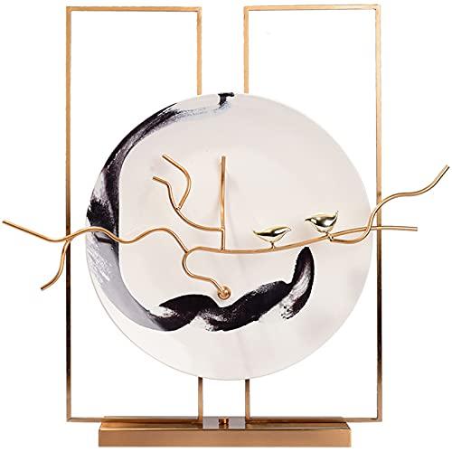 GAOZHEN Decoraciones de cerámica en casa, Adornos de Humor Chino, artesanías de Escritorio Creativo de Recuerdos Pintados a Mano de cerámica,Blanco