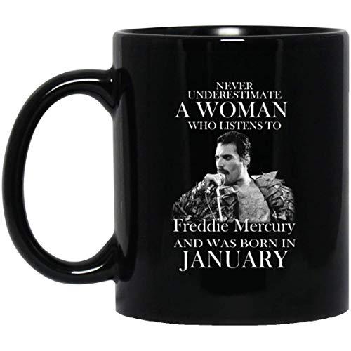 Freddie mercury fan nacido en enero nunca subestime su taza de café - regalo negro para amigo amante esposa novia madre abuela en el día internacional de la mujer día de la madre navidad cumpl