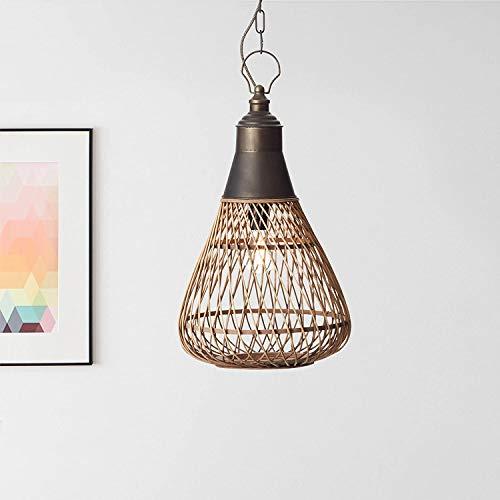 Nature - Lampadario a sospensione, 1 x E27, max. 60 Watt, in metallo/rattan, colore: Marrone chiaro