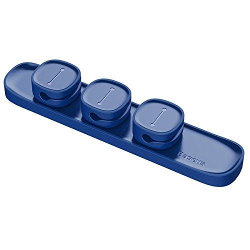 Baseus Clips Magnéticos para Cables, Administración de Cables de Escritorio, Organizador Multipropósito para TV, PC, Cargador de Computadora Portátil o Mouse, Oficina en Casa (Azul)