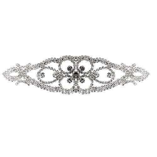 Trimming Shop Zilveren Diamante Motief met Prachtige Crystal Strass Steentje, Naaien Applique Patch voor Bruiloft Bruidsjurk, Casual, Formele Draag Mode Accessoires, 160mm x 45mm