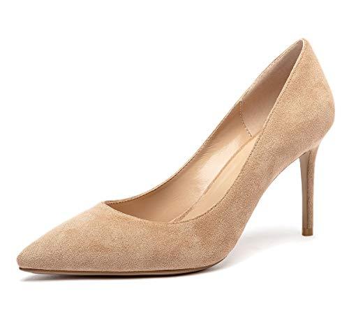CASTAMERE Damen High Heels Spitzen Zehen Mode Stilettos Slip-On Pumps 8.5CM Beige Nackt Wildleder Schuhe EU 37.5