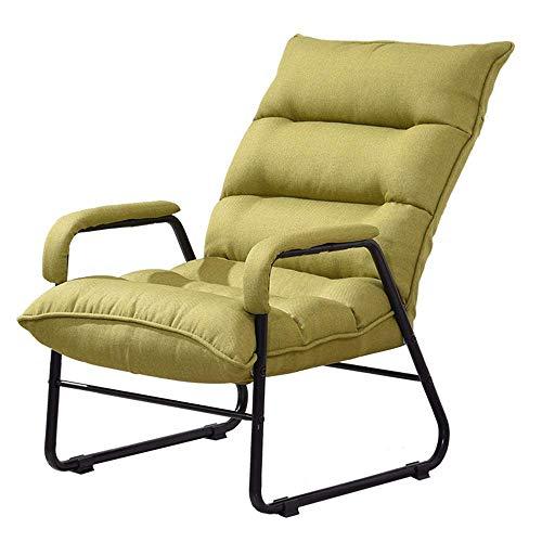 RANRANJJ Silla plegable individual for sofá perezoso, Juego de sillón de lino acolchado grueso, Reposacabezas con respaldo ajustable en ensamblaje fácil, Reclinable individual for vivir, Balcón del do