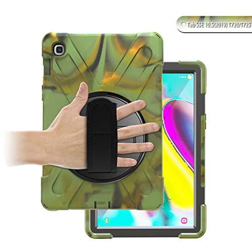 Custodia TH000 per Samsung Galaxy Tab S5e T720 Resistente agli urti Full Body Robusto Custodia protettiva resistente Impugnatura e tracolla da 10,5 pollici SM-T720 725 2019 Cavalletto nero