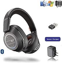 Plantronics Voyager 8200-UC Stereo Bluetooth Headphones, for Smartphones, Tablets, PC/MAC Apps, Bluetooth Polycom VVX 601, OBi2182   USB Audio Dongle, Charger   Bonus Power Supply