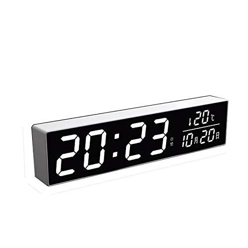 YZERTLH Reloj de Escritorio Analógico Perpetuo Calendario Alarma electrónica Mute Luminoso Pantalla LED Dormitorio Digital Cocina Oficina Despertador Junto a la Cama Reloj de Escritorio Silencioso
