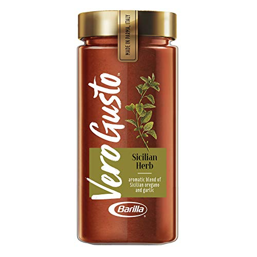 VERO GUSTO BY BARILLA Sicilian Herb Pasta Sauce, 20 oz Jar | Made in Parma, Italy | No Artificial Ingredients & No Added Sugar | Non-GMO Project Verified (Pack of 6)